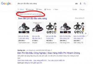 Số lượng kết quả trả về cho một từ khóa tìm kiếm của Google.